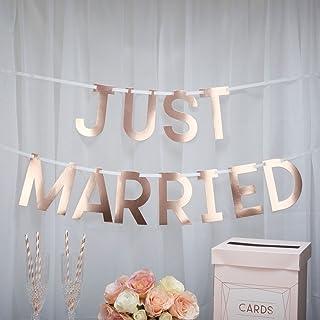 Hochzeits-Girlande Just Married in Rosé-Gold - Kupfer/Hochzeit/Hochzeits-Dekoration/Just Married/Raum-Deko Deko-Banner