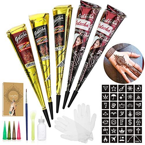 Luckyfine Natürliche Tattoo Sticker, Temporäre Tätowierung Kit, mit 20 x Tattoos Paste Schablone, 1 X Kleine Bürste/Kunststoffschaber, 4 X Kunststoffdüse, Schwarz/Brown/Rot 25g X 5