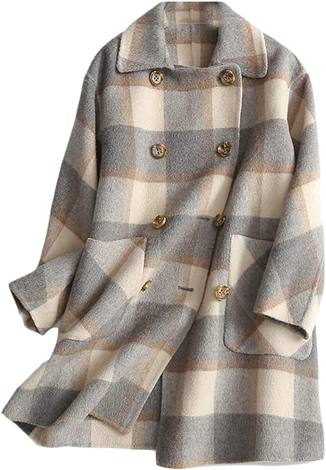 Cromoncent Women Plaid DoubleBreasted Elegant Pocket Overcoat Wool Blend Coat Jacket