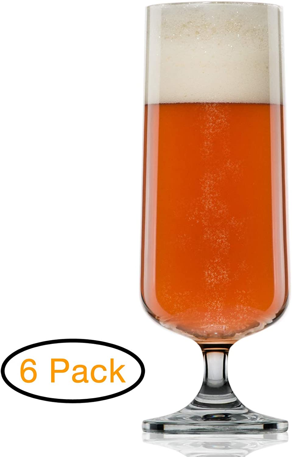 Craft Beer Glasses - Pilsner Glasses - Nucleated for Better Head Retention, Aroma and Flavor (6 Pack)-Handsomely Designed, Crystal 18 oz Tall Beer Glass for Beer Drinking Enhancement Gift Idea for Men