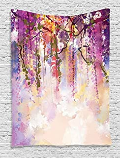 Ambesonne Watercolor Flower Decor Collection, Spring Flowers Wisteria Bokeh Background Painting, Bedroom Living Kids Girls Boys Room Dorm Accessories Wall Hanging Tapestry, Navy Purple Peach White