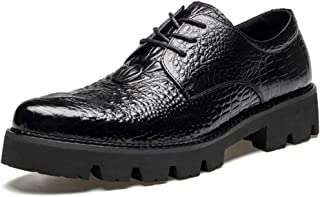 RongAi Chen Oxfords for Men Dress Shoes Lace up Crocodile Embossed Pointed Toe Anti-Slip Lug Sole Genuine Leather Height Increasing 3.5cm (Color : Black, Size : 8 UK)