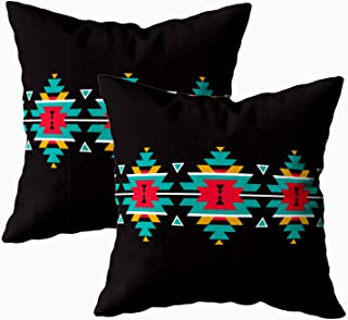 TOMKEY Covers Pillow Case, 2 Packs Hidden Zippered 18X18Inch Tribal Colorful Geometric Border Pattern Ethnic Ornament Decorative Throw Cotton Pillow Case Cushion Cover for Home Decor,Geometric Black