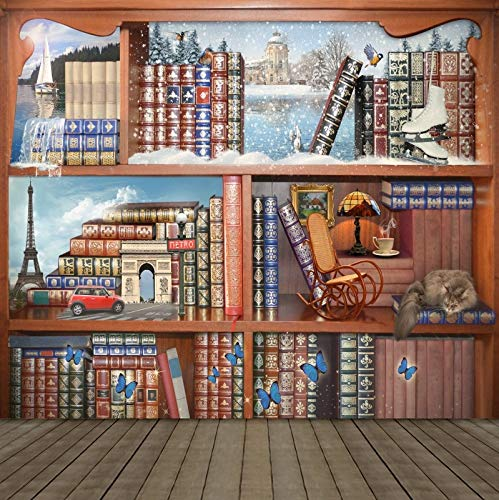 Old Wood Bookshelf Book For Library Study Child Portrait Photo Background Photography Backdrop Photocall Photo Studio A13 3x3m