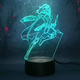 Amroe Multicolor 3D LED Nightlights Marvel Avengers Heroes Series Wonder Woman Led 7 Colors Lamp Kids Night Light Toys Birthday Gifts Remote Touch Control Party Decoration Light Table Desk Lamp