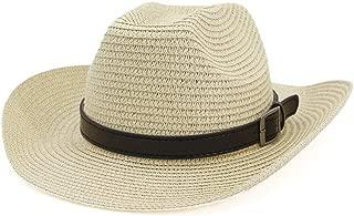 HaiNing Zheng Western Fedora Hat Straw Hat Men Sun Hat Women Outdoor Beach Hat Sunscreen Black Belt Sunshade Hat