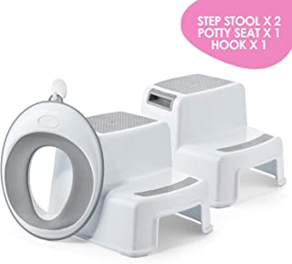 ACKO Step Stool for Kids 2pcs with 1 Potty Training Toilet Seat,Kids Step Stool with Potty Seat Toddler Stool for Toilet Potty Training Potty Training Seat with Ladder for Boy
