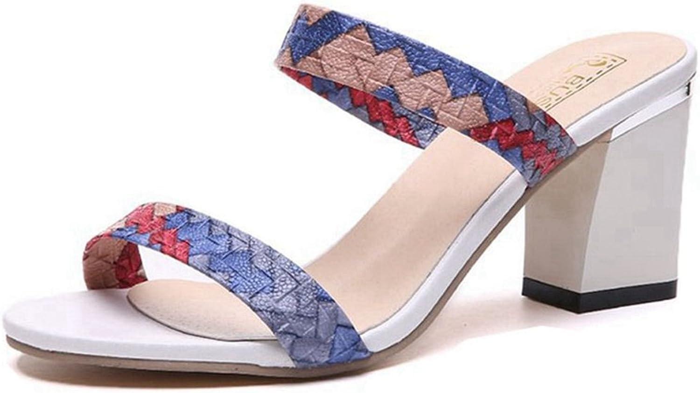 GIY Womens Open Toe color Strap Heel Mules Sandals Slip On Peep Toe Chunky Block Heel Sandals