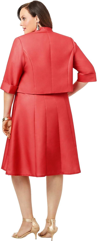 Roamans Womens Plus Size Fit-and-Flare Jacket Dress Suit