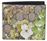 Gucci Men's 130 SMLG Beige/Ebony GG Canvas Bi-fold Supreme Blooms Coated Wallet 408666 8966