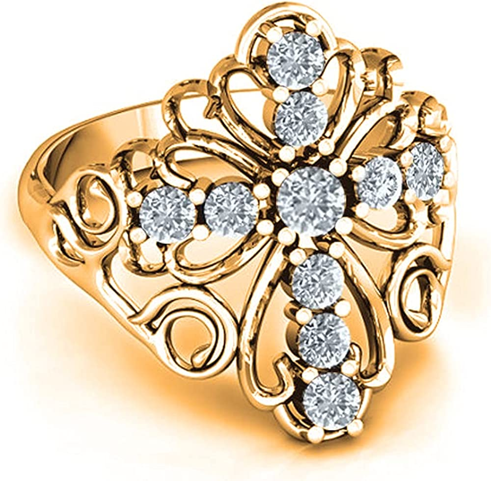 Savlano 18K Yellow Gold Plated Round Cut Cubic Zirconia Filigree Cross Ring Women's Girl's Religious Ring