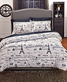 Paris Twin Comforter Set - Two-Piece Printed Down Alternative Bedding, Sham