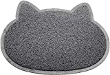 Cat Face Shaped PVC Non Slip Bowl Feeding Mat Placemat for Pet Dogs and Cats (Grey)