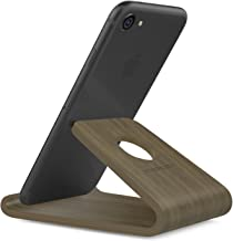 """MoKo Wooden Cell Phone Stand, Smartphone Desktop Holder, Mobile Phone Holder Cradle, fits with iPhone 11 Pro Max/11 Pro/11, iPhone Xs Max XR X, Galaxy S20 6.2"""", Google Pixel 3XL, Walnut Color"""