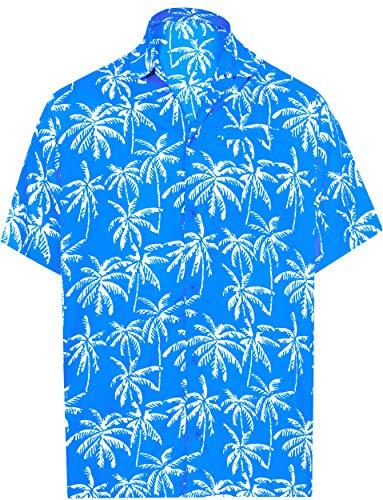 LA LEELA Palme Hawaii Hemd für Männer Knopf Kurze Ärmel gespreizter Kragen Urlaub Parteiarbeit gedruckt L-Brustumfang (in cms):111-121 Hellblau_AA175