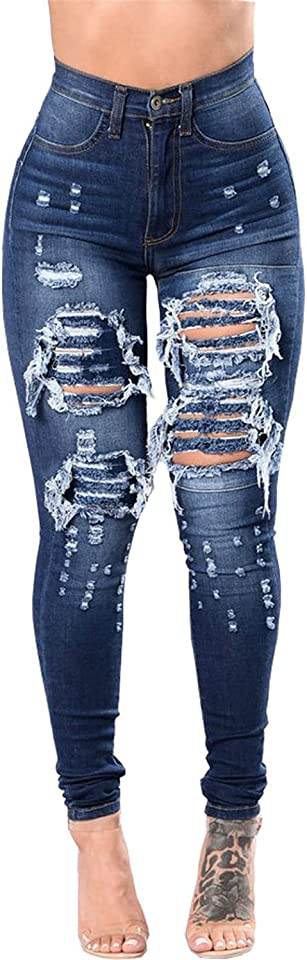 Women's Ripped Boyfriend Denim Jeans Pants Distressed Stretch Skinny Africa Jeans Legging with Hole (Small,Navy blue)