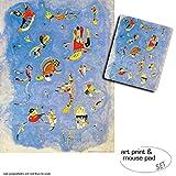 1art1 Wassily Kandinsky, Himmelblau, 1940 1 Poster Kunstdruck (80x60 cm) + 1 Mauspad (23x19 cm) Geschenkset