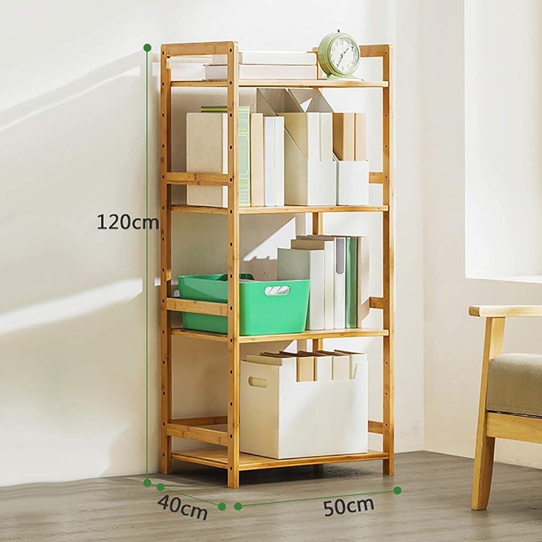 Caoyu Bookshelf shelf multi-layer floor large capacity storage shelf assembly bookcase Bookcase storage shelf (Size   H4-L50CM)
