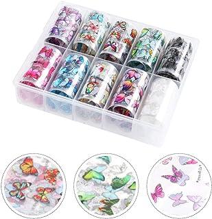 SOLUSTRE 10pcs Butterfly Nail Art Sticker Nail Art Decals Flower Design Stickers Watermark Nail Art DIY Nail Art Supplies ...
