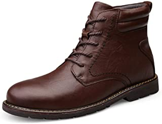 Sunny&Baby Ankle Boots for Men Classic Work Shoes Lace up High Top Casual Round Toe Genuine Leather Non-Slip Stitching (Fleece Inside Option) Durable (Color : Brown-Fleece Inside, Size : 6.5 UK)
