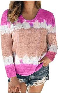ESKNAS Womens Pullover Tops Autumn Color Block Tie-Dye Patchwork Print Long Sleeve T-Shirts Crew-Neck Sweatshirts