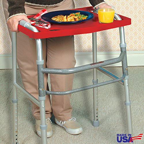 North American Health + Wellness Walker Tray with Non-Slip Grip Mat - Red, One-Size