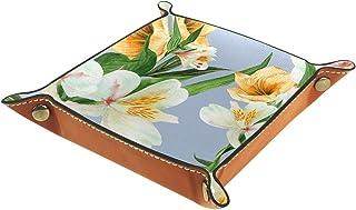 ATOMO Lily-01 Plateau de rangement en cuir aquarelle pour clés, bijoux, articles divers, table de chevet