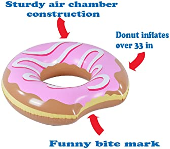 XFlated Donut Float, Inflatable Donut Pool Float Strawberry, Pool or Beach Toy for Kids, Donut Ring of 33 Inches