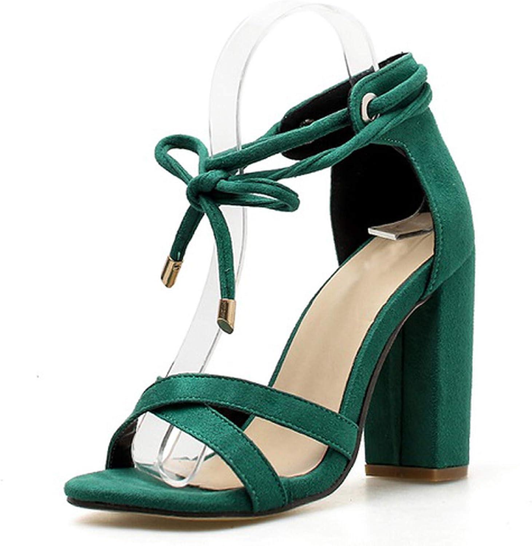 Women Sandals Lace-Up Fashion High Heels Peep Toe shoes Female Square Heel Ladies Sandals