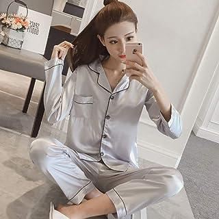 Pijama De Satén De Seda para Mujer De Primavera Y Otoño Conjunto De Pijama De Manga Larga Conjunto De Pijama De Dos Piezas para Dormir para Mujer Gris Claro