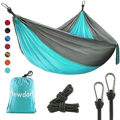"Newdora Camping Hammock with Tree Straps Portable Lightweight Nylon Hammock, Parachute Double Hammock for Backpacking,Camping,Travel,Beach,Yard.105(L) x 56""(W).(Blue & Grey)"