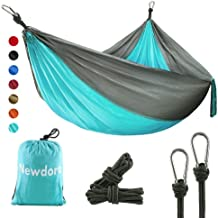 Newdora Camping Hammock with Tree Straps Portable Lightweight Nylon Hammock, Parachute Double Hammock for Backpacking,Camping,Travel,Beach,Yard.105(L) x 56
