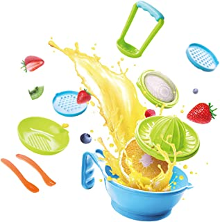Maser 9 کودک سازنده غذای کودک توسط Haaytonger، پردازنده غذای قابل حمل کودک قابل حمل Smasher Serve Bowl قاشق سبزیجات سبزیجات ابزار Ricer Grinder Tools | عالی برای سفر ، بدون BPA ، ماشین ظرفشویی ایمن