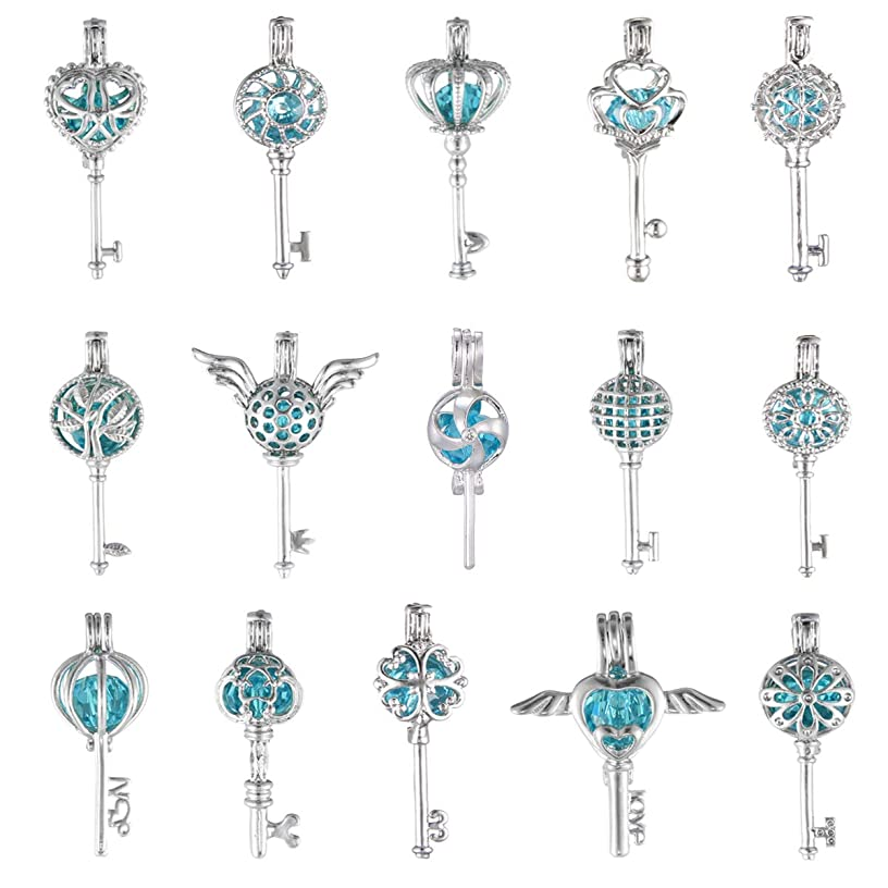 8Pcs Cute Key Style Oyster Pearl Bead Cage Pendant - White Gold Plated Essential Oil Diffuser Necklace Bracelet Cage Charms for Jewelry Making