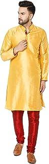 SKAVIJ Men's Kurta Pajama Set Art Silk Indian Traditional Party Wear Dress