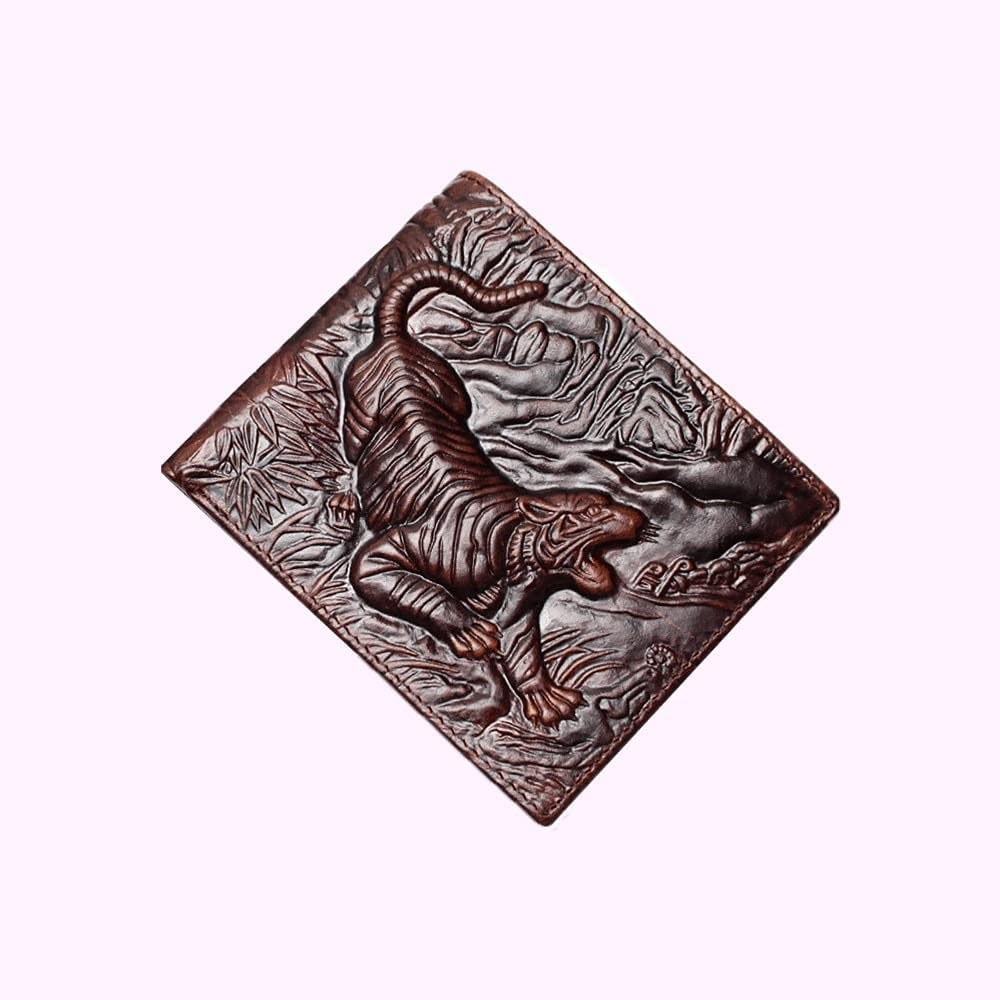 Lingwu Mens Genuine Leather Bifold Wallet with Indianapolis Mall Tiger Window E ID High quality