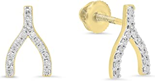 0.15 Carat (ctw) 14K Round White Diamond Ladies Fashion Wishbone Stud Earring, Yellow Gold