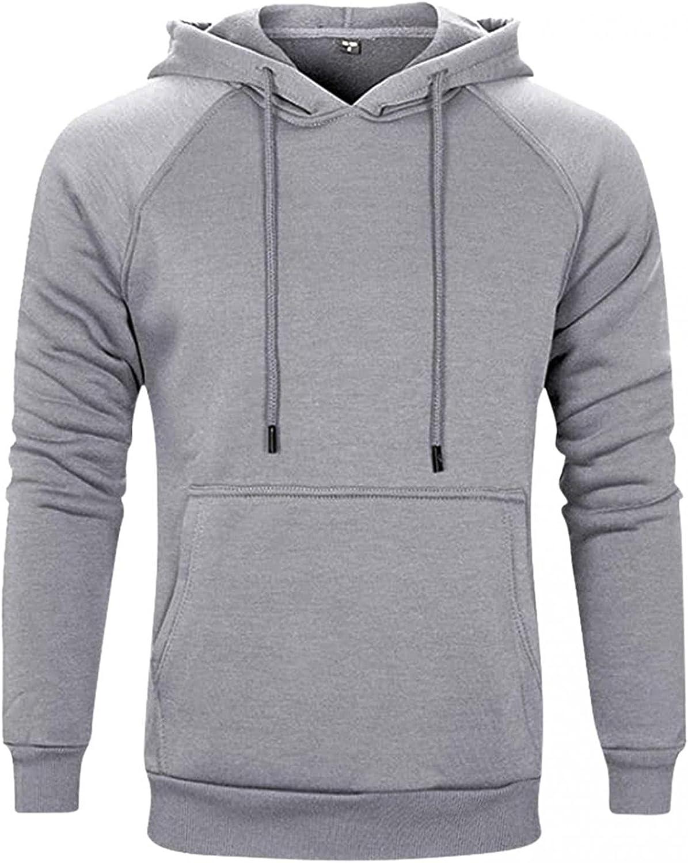 XUNFUN Men's Solid Pullover Hoodies Casual Sports Long Sleeve Drawstring Midweight Hooded Sweatshirts with Kanga Pocket