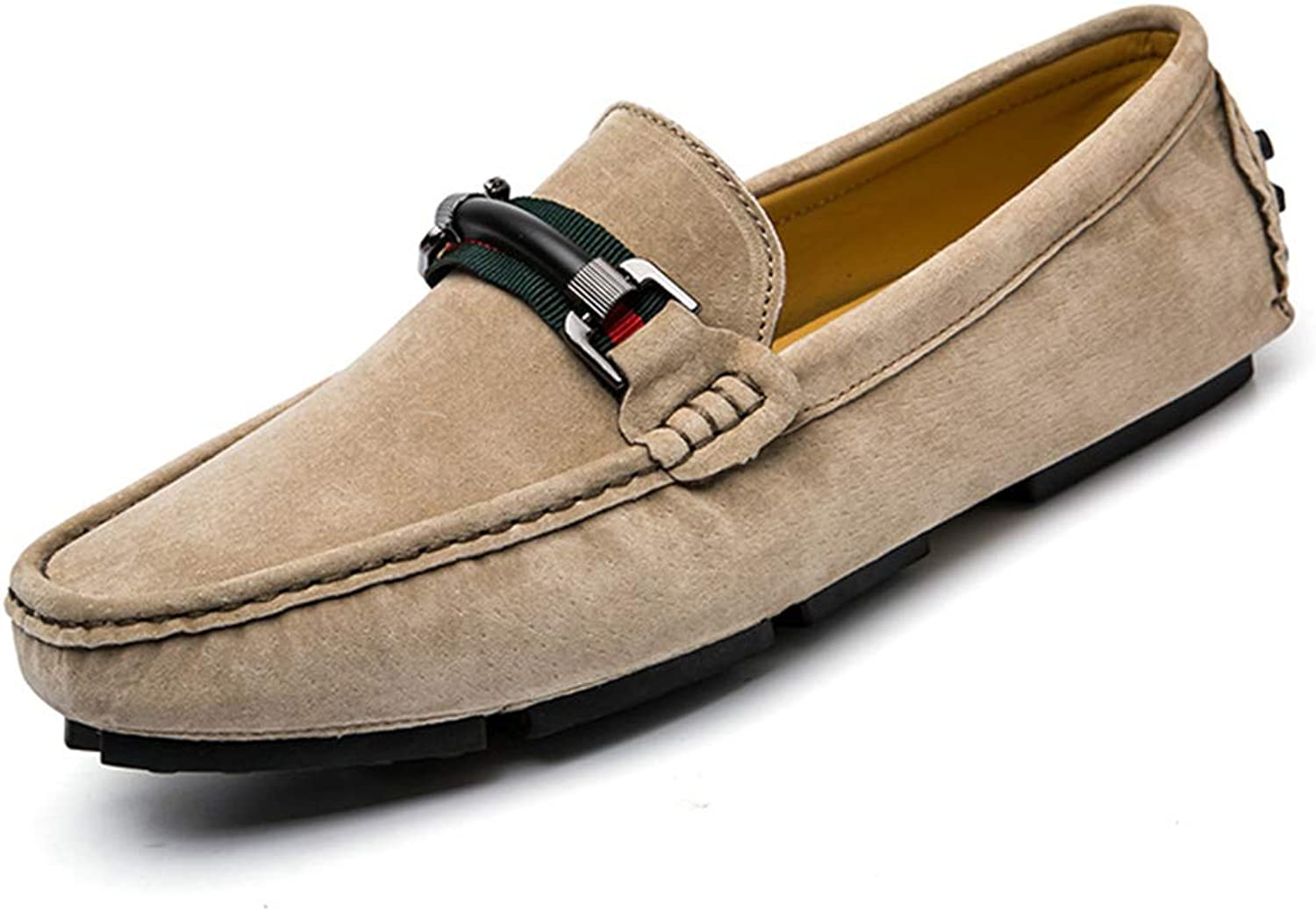 Men's Suede Slip-on Spring Fall Loafers Leisure shoes Driving shoes Lazy shoes Casual Business Flat shoes Lazy shoes (color   A, Size   42)