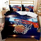 Mscomft Juego de ropa de cama con diseño deportivo 3D, diseño de balón de baloncesto, funda nórdica y funda de almohada, para niños, jóvenes, niñas, adolescentes (200 x 200 + 50 x 75 cm)