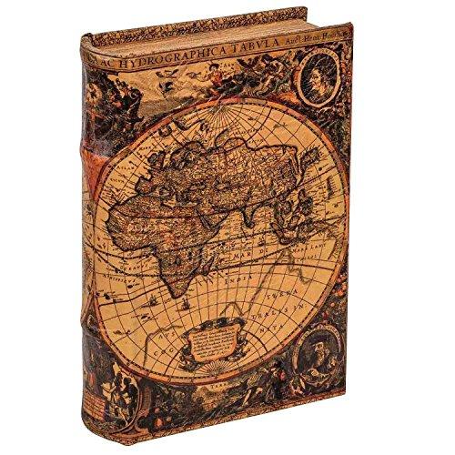 aubaho Buchtresor Buchsafe Buchattrappe Geheimversteck Geheimsafe Weltkarte Box 22cm