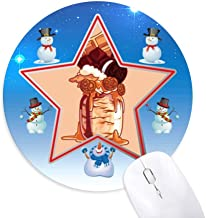 DIYthinker Frasco de Galletas de Chocolate Ice Cream Muñeco de Nieve Mouse Pad Redondo Star Mat