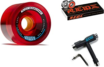 Hawgs Mini Monsters Longboard Wheels - 70mm - 82a - Red with Bones Reds Bearings and CCS Skate Tool
