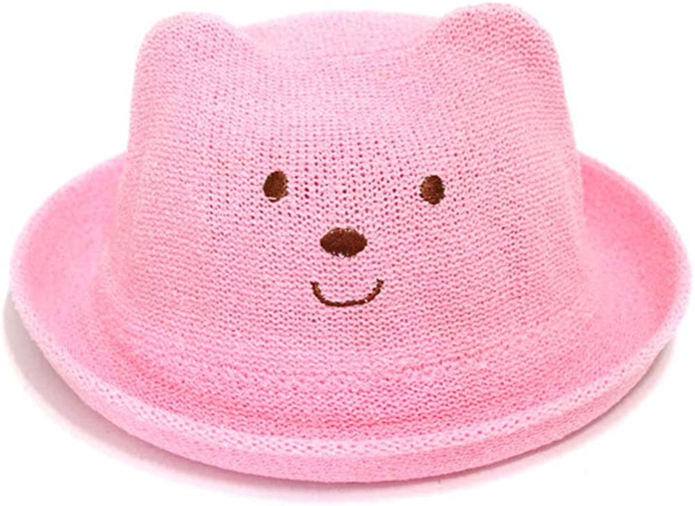 QTKJ Cute Bear Pattern Kids Anti-UV Cat Summer Straw Hat Ear Spasm price Sun Very popular