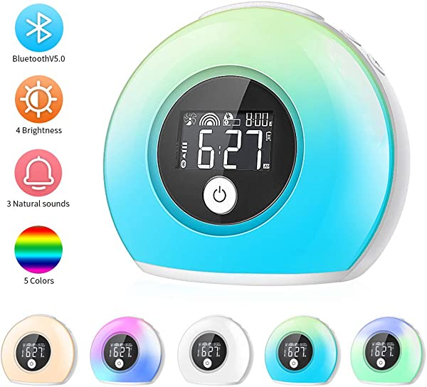 CrazyFire Wake Up Light Alarm Clock For Bedrooms Kids Alarm Clock With Wireless Bluetooth Speaker And 5 Color Switch 3 Natural Sounds 4 Brightness 2000mAh Rechargeable Battery