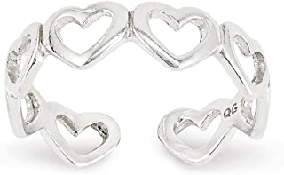 Lex & Lu Sterling Silver Cut-Out Hearts Toe Ring