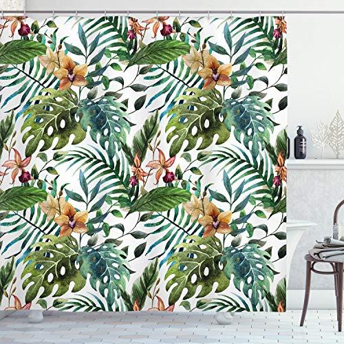 ABAKUHAUS Blatt Duschvorhang, Bananen-Palme-Blätter, mit 12 Ringe Set Wasserdicht Stielvoll Modern Farbfest & Schimmel Resistent, 175x180 cm, Blasser Karamell Bordeauxrot & Grün
