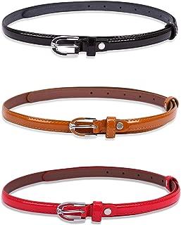 uxcell Women Lady Adjustable Single Pin Buckle Slim Skinny PU Leather Waist Belt