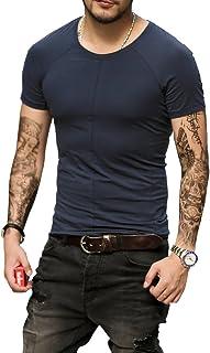 [ミックスリミテッド] Tシャツ メンズ コットン Uネック ストレッチ ラグラン タイト ティーシャツ