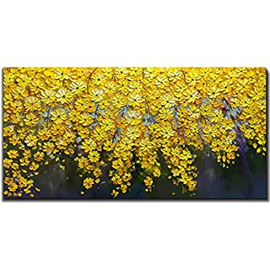V-inspire Art, 24X48 Inch Oil Paintings on Canvas Brilliant Flowers Art 100% Hand-Painted Abstract Artwork Floral Wall Art For livingroom Bedroom Dinning Room Decorative Pictures Home Decor